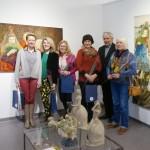 Iš kairės - Lina Dieninė, Onutė Juškienė, Rasa Balčiūtė-Šaltenienė, Genutė Vaičikauskienė, Kultūros centro Dusetų dailės galerijos direktorius Alvydas Stauskas, Birutė Šeškauskienė.